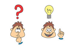 Wondering boy with an idea stock illustration