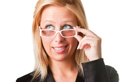 Wondering Businesswoman. Worried businesswoman with glasses wonders Royalty Free Stock Photo