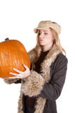 Wondering what to do with pumpkin Royalty Free Stock Image