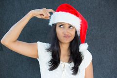 Wondering X-mas woman Stock Photo