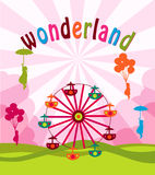 Wonderland. A illutration of funfair background Stock Photos