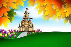 Wonderland. Illustration of dreamland of castle in the tulips garden surrounded by autumn leaves vector illustration