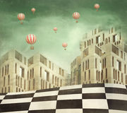 Wonderland. Illustration of a several modern buildings in a surreal landscape and many hot air balloons Stock Photo