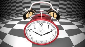 Wonderland alarm clock, curved checker background. Abstract, close up Stock Photo