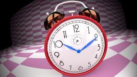 Wonderland alarm clock on a pink checker background. Abstract, trippy, alarm clock, pink checker background Stock Images