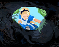 Wonderland Alice. Illustration of Alice looking to the hare hole Stock Images