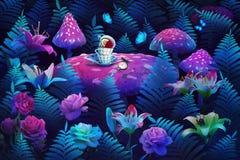 Wonderland banner. fantastic wonderland forest. Fantastic wonderland forest landscape with mushrooms and flowers.  Mad tea party
