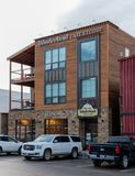 Wonderland Cafe and Lodge in Gardiner. June 23, 2018: Gardiner, United States: Wonderland Cafe and Lodge in Gardiner, Montana offers a eco-friendly place for stock image
