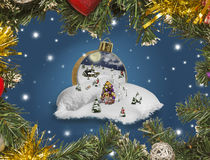 Wonderland in a christmas ball. With pine frame royalty free stock photography