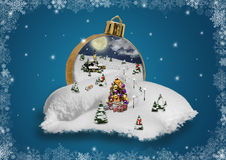Wonderland in a christmas ball. With snowflake frame royalty free stock photography