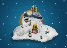Wonderland in a christmas ball. With village and snow royalty free stock photography