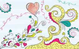 Wonderland. Colorful hand drawn illustration with heart Stock Images