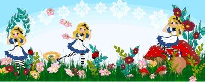 Wonderland. A cute lady in a wonderland illustrations