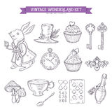 Wonderland hand drawn set of design elements Stock Photo