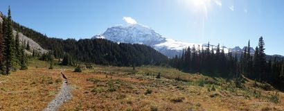 Wonderland Hiking Trail circumnavigating Mount Rainier near Seattle, USA.  stock photos