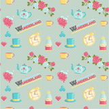 Wonderland magic dream illustrations set. Lovely wonderland themed seamless vector pattern. Roses, playing card elements, teatime set, magic potions on dotted Royalty Free Stock Photography
