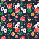 Magical pattern with lovely roses,playing cards,hat,old clock and golden keys Royalty Free Stock Photography