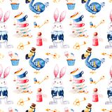 Magical pattern with bottle,Dodo bird,golden keys,cute rabbit in blue jacket,cupcake Royalty Free Stock Photography