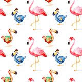 Magical pattern with fantasy Dodo birdand flamingo Stock Images