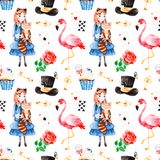 Magical pattern with lovely rose,playing cards,hat,flamingo Royalty Free Stock Photo