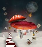 Red poisonous mushrooms ina winter scenery vector illustration