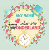 Wonderland themed party invitation Stock Image