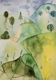 Wonderland in twilight. Abstract watercolor painting Royalty Free Stock Images