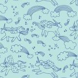 Wonderland unicorn line pattern. Wonderland unicorn stars ice cream vector line pattern Royalty Free Stock Photo