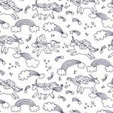 Wonderland unicorn line pattern. Wonderland unicorn stars ice cream vector line pattern Stock Images