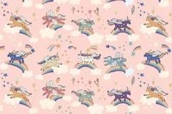 Wonderland unicorn pattern. Wonderland unicorn stars ice cream vector pattern Royalty Free Stock Photos