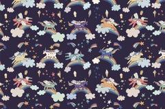 Wonderland unicorn pattern. Wonderland unicorn stars ice cream vector pattern Royalty Free Stock Photo