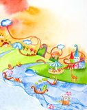 Wonderland  watercolor painted Royalty Free Stock Photography