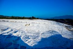 Wonderrful view on the white cotton castle and surroundings. In Denizli Royalty Free Stock Photos