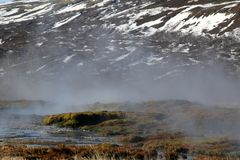 The spectacular hot springs in Iceland. The wonders of the country Iceland in many colors and scenes stock photography