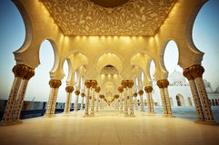 Wonders of Islamic Architectures. Shot from Shikh Zayed Grand mosque in Abu Dhabi Royalty Free Stock Images