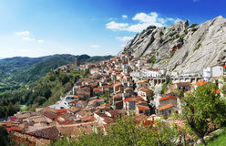 Wonders of Italy - the town of Pietrapertosa built in the mountain. Wonders of Italy - the town of Pietrapertosa built in the rock mountain Royalty Free Stock Images