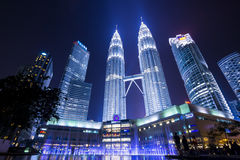 Wonders of KL. A nightscape in front of KLCC building, Kuala Lumpur, capital of Malaysia Stock Photo