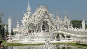 Details of hands white temple & x28;wat rong khun& x29;, Chiang Rai. Details ot White Temple seen from distance and almost empty. Wat Rong Khun or white temple royalty free stock photography