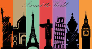 Wonders of World, Travel and tourism background vector illustration