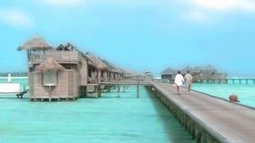 Beautiful shot of turquoise calm ocean water in tropical seaside luxury resort paradise Maldives island seascape skyline. Wonderufl shot of turquoise calm ocean stock footage