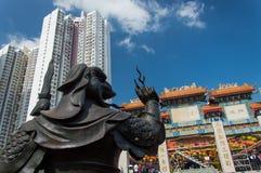 Wong Tai Sin Temple - Koperstandbeeld stock afbeelding
