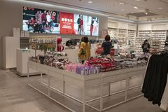 The cash counter in H&M store royalty free stock image