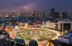 Wongwian Yai mit Blitz, Bangkok-Stadt, Thailand Stockfoto
