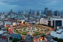 Wongwian Yai mit Blitz, Bangkok-Stadt, Thailand Lizenzfreies Stockfoto