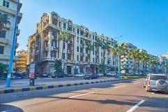 Woningbouw in Corniche-Weg, Alexandrië, Egypte Royalty-vrije Stock Foto's