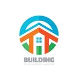 Woningbouw - de vectorillustratie van het embleemconcept in vlakke stijl voor presentatie, boekje, website en andere creatieve pr royalty-vrije illustratie