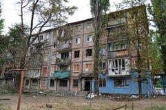 Woningbouw in een oorlogsstreek in het gebied van Donetsk, Kharts Stock Afbeelding