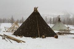 Woningsherders in de winter royalty-vrije stock fotografie