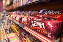 Wonka chocolate bars in a sweets shop. Stock Photos