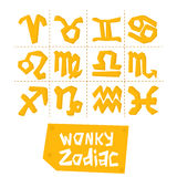 Wonky style illustration of 12 zodiac signs. Vector set Vector Illustration